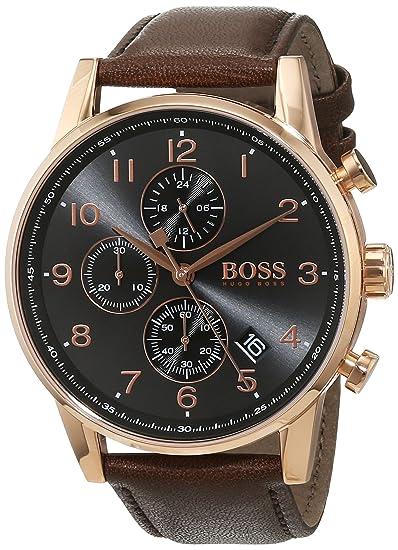 faa95e84ad1c Hugo BOSS Reloj Cronógrafo para Hombre de Cuarzo con Correa en Cuero  1513496  Amazon.es  Relojes