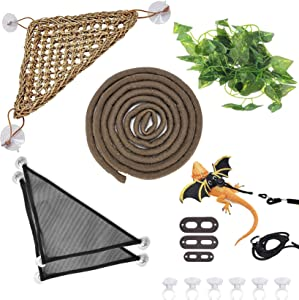 Hamiledyi Bearded Dragon Tank Accessories Lizard Hammock Climbing Jungle Vines Adjustable Leash Bat Wings Flexible Reptile Leaves with Suction Cups Reptile Habitat Decor for Gecko,Snakes,Chameleon