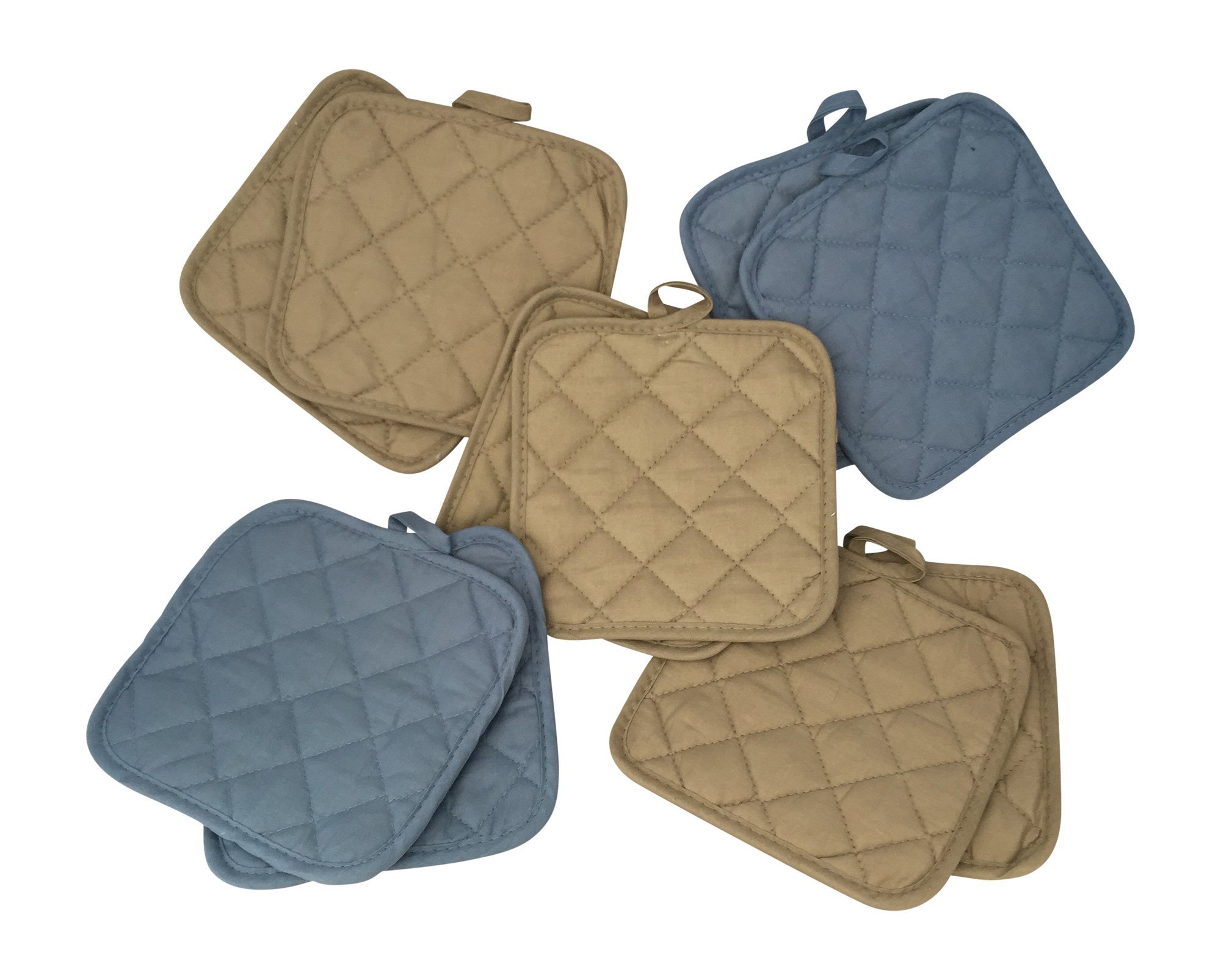 5 (FIVE) Sets of The Home Store Cotton Pot Holders, 2-ct. Color Variety Pack Kitchen Cooking Chef Linens (Blue & Tan)