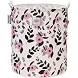 """Sea Team 19.7"""" x 15.7"""" Large Sized Folding Cylindric Canvas Fabric Laundry Hamper Storage Basket with Floral Pattern…"""