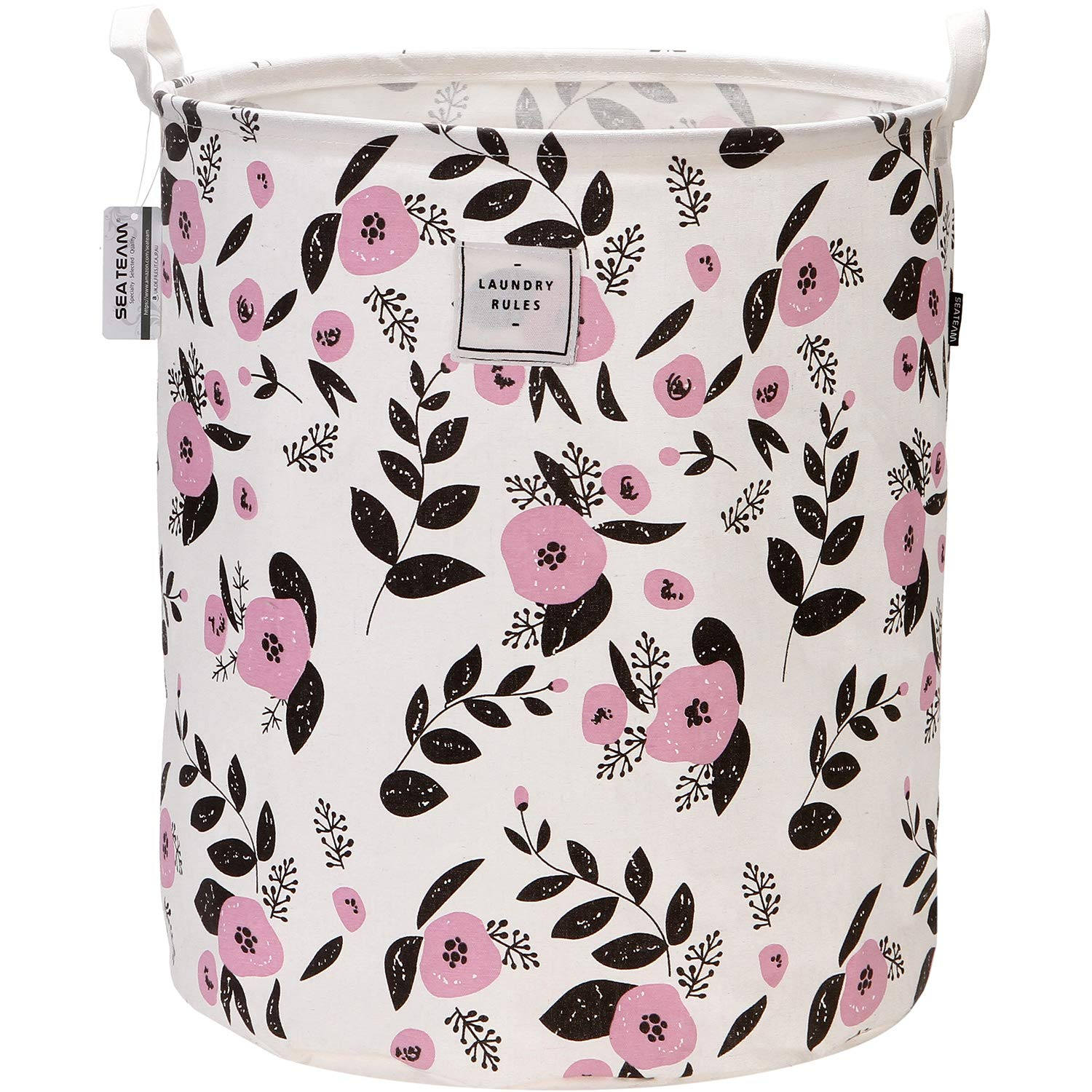 "Sea Team 19.7"" x 15.7"" Large Sized Folding Cylindric Canvas Fabric Laundry Hamper Storage Basket with Floral Pattern, Pink & Black"