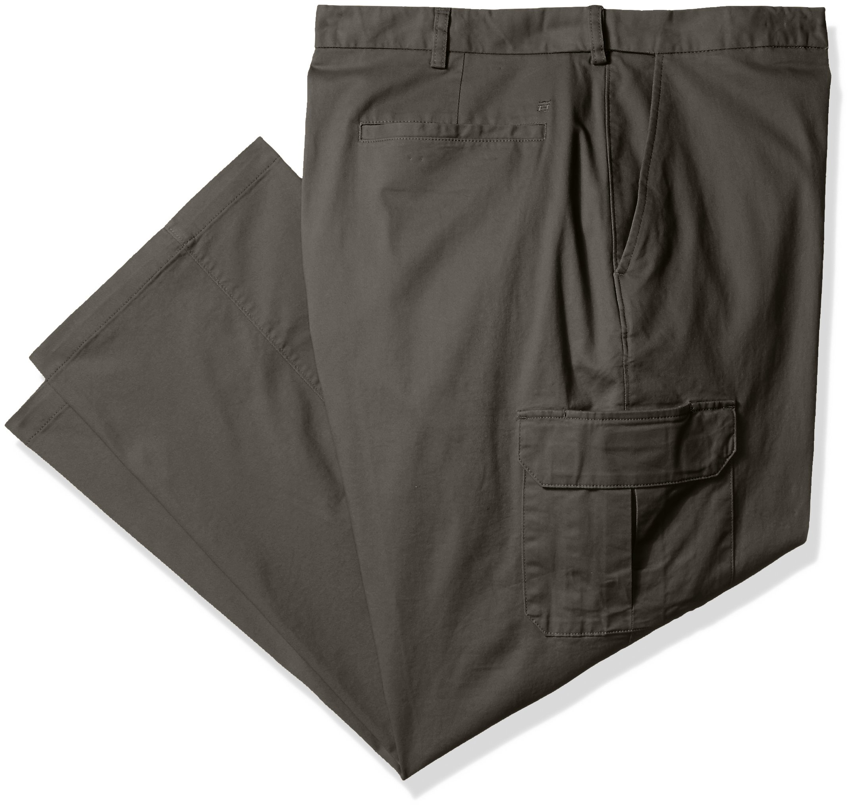 Haggar Men's Big-Tall Stretch Comfort Cargo Expandable Waist Classic Fit Plain Front Pant, Medium Grey, 50x30