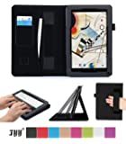 """Polatab 10.1 Case, Fyy® Premium PU Leather Case Stand Cover with Card Slots, Pocket, Elastic Hand Strap and Stylus Holder for 10.1"""" Android Tablet inclu. 2014 NEW iRulu 10"""" A31S/ iRulu 10.1"""" A20, iRulu X1s 10.1"""", Dragon Touch A1X Plus/ A1X/ A1 10.1"""", NeuTab N10 10.1"""", Contixo Q102 10.1"""", Poofek 10.1 inch Google Android Tablet 32GB / A31S, Tagital T10 10.1"""", ProntoTec Nepro 10S 10 inch, Polatab Elite Q10.1, ValuePad VP112 10"""", Shamo's New 10.1"""", Epassion E1 10.1"""", TouchTab 10.1"""", Amar 10.1"""" Black"""