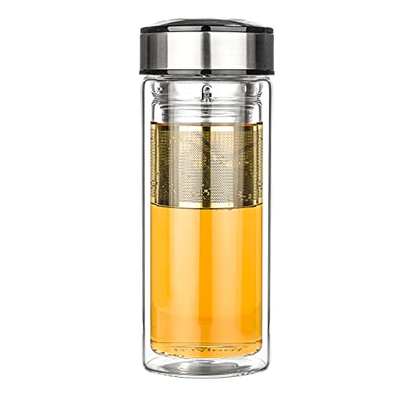amazoncom tealyra teatravel 16 ounce glass double walled thermos travel mug with removable stainless steel infuser basket borosilicate glass tea - Glass Thermos