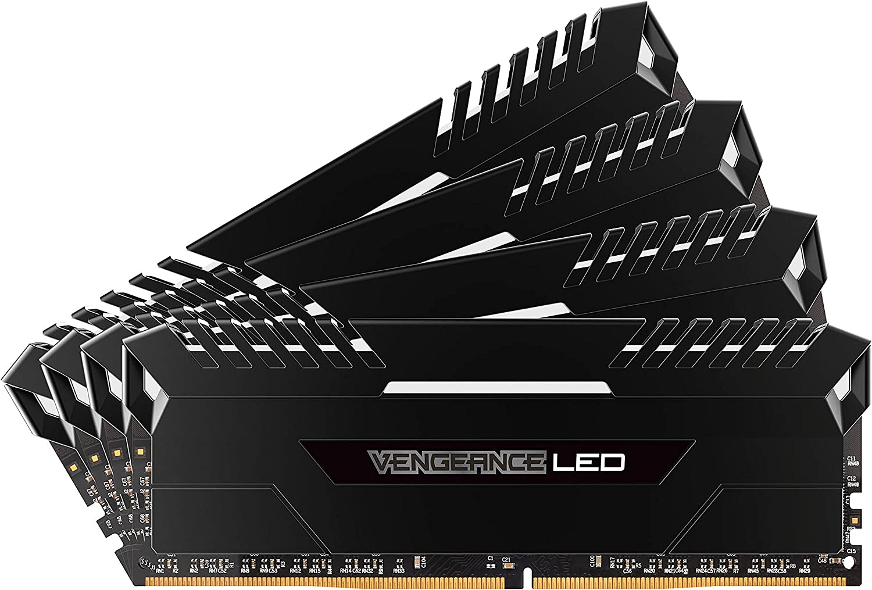 Black Corsair Vengeance 2-Pack 8GB PC4-19200 DDR4 DIMM Unbuffered Non-ECC Desktop Memory Kit CMU16GX4M2A2400C16