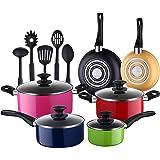 COOKSMARK® Batería de Cocina 15 Piezas Juego de Ollas y Sartenes 3 Capas Antiadherentes Juego