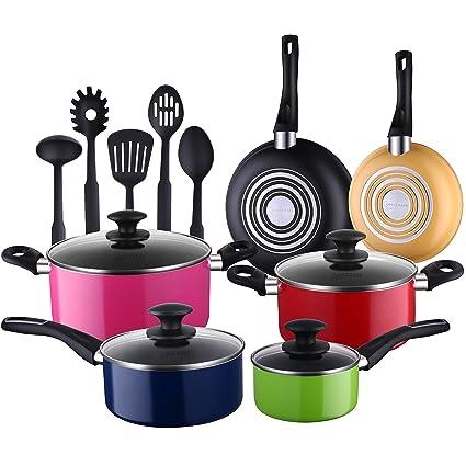 Cooksmark 15 Piece Nonstick Cookware Set Multicolor Kitchen Pots And Pans Set Nonstick With