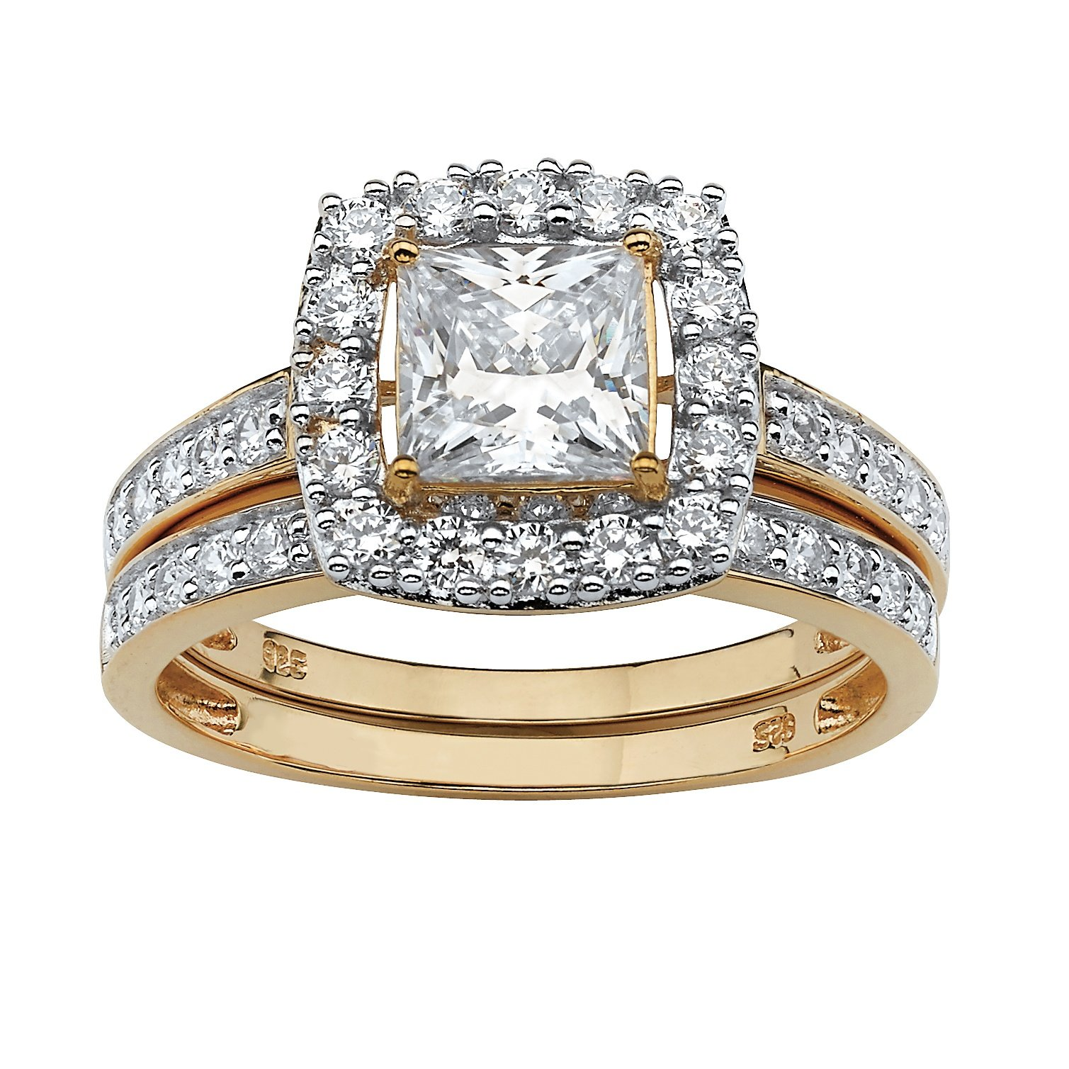 18K Yellow Gold over Sterling Silver Princess Cut Cubic Zirconia Halo Bridal Ring Set Size 7