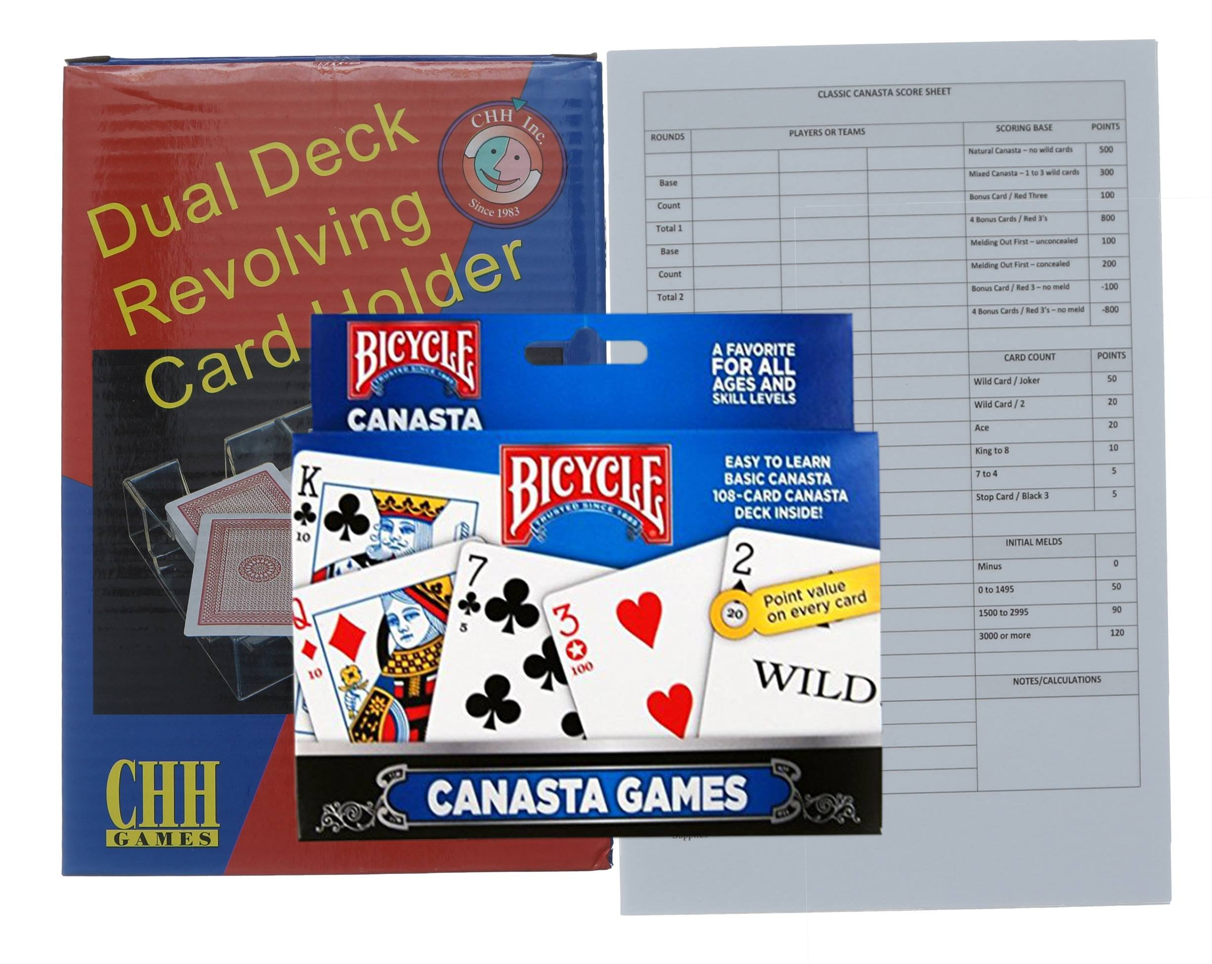 Canasta Playing Cards Game Set. Includes a Revolving Tray, Holder, 2 Deck of Canasta Cards with Point Values, and 50 Score Pads.