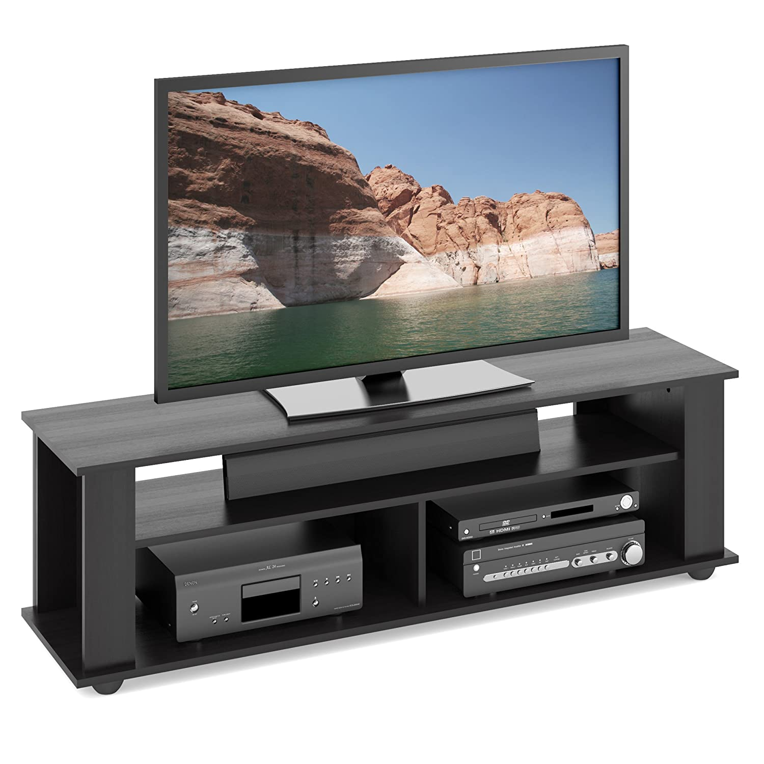 amazonca television stands  entertainment centers home  kitchen - corliving tbfb bakersfield ravenwood black tvcomponent stand