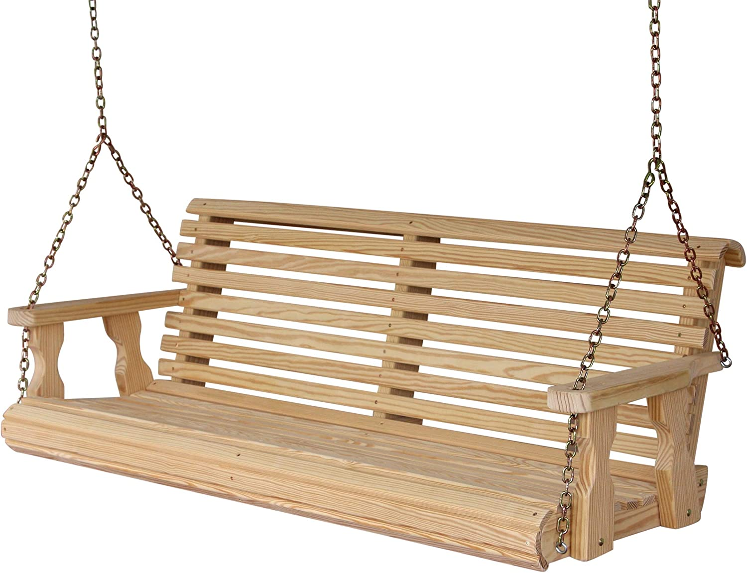 QUICK SHIP-Amish Heavy Duty 800 Lb Roll Back 5ft Porch Swing With Cupholders-USA