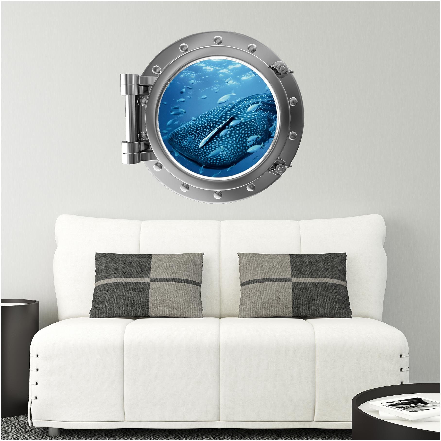24'' PortScape WHALE Shark 1 SILVER Porthole Underwater Window Ocean Sea Life Peel and Stick Mural Kids Room Decor Birthday Gift