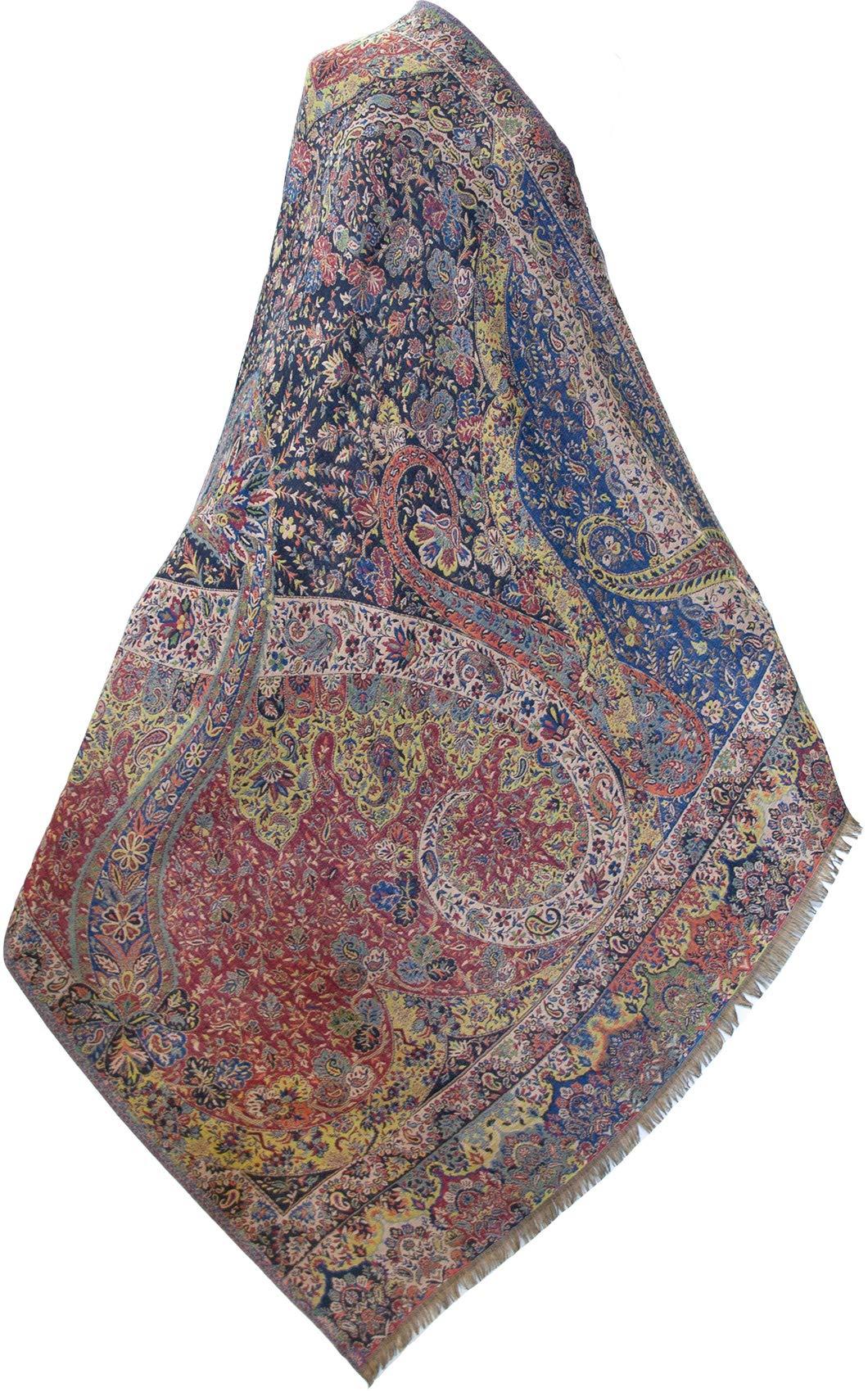 Large, Superior Kani Shawl. Paisley Jamawar from India. Warm & Very Detailed