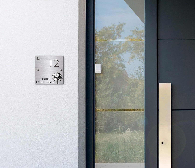 Edelstahl T/ürschild mit Gravur T/ürschild f/ür die Haust/ür mit Namen selbst gestalten Namensschilder Briefkastenschild selbstklebend oder mit Bohrl/öcher 10x10 cm eckig mehr als 80 Motive Klingelschild