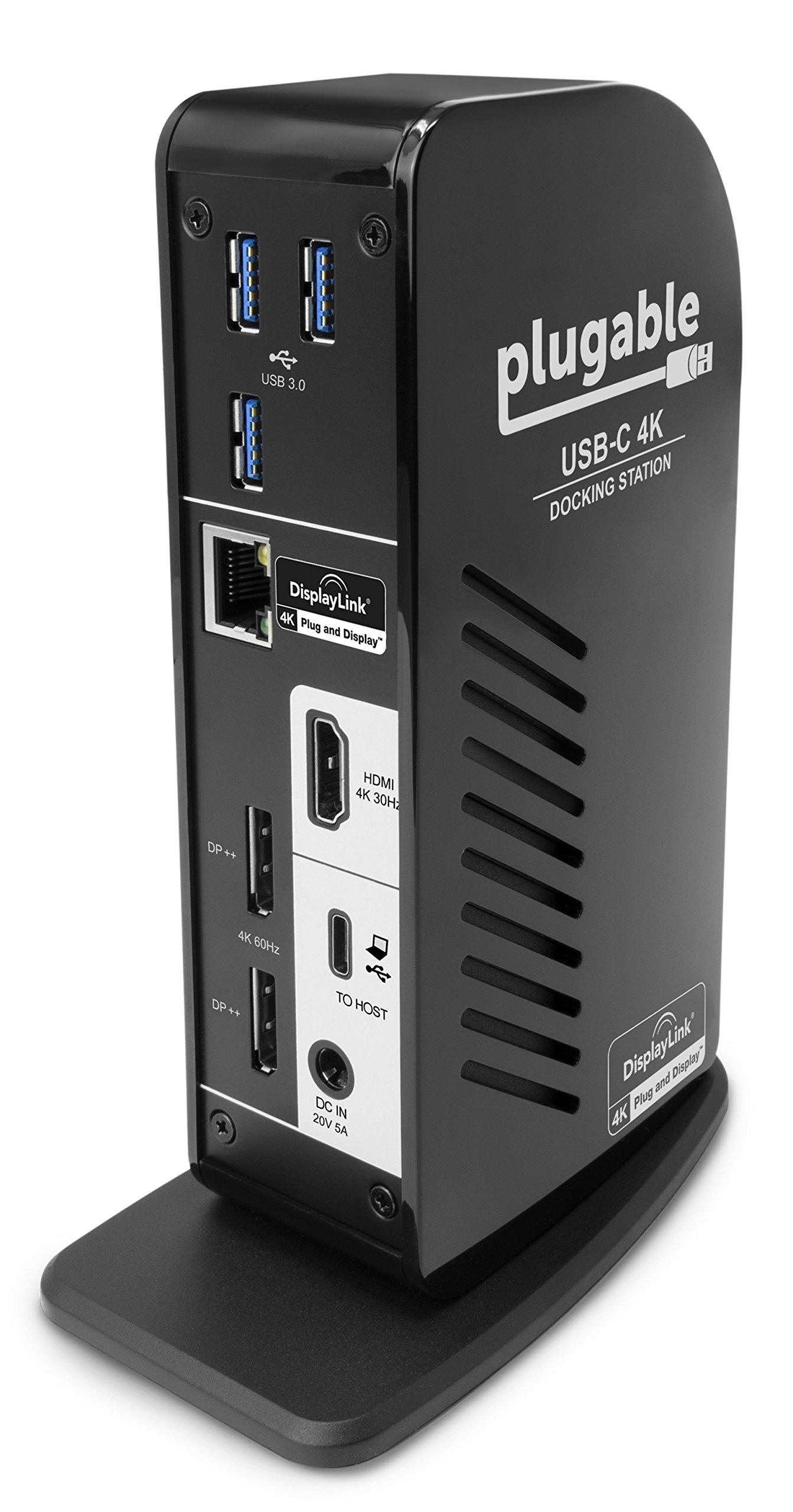 Plugable USB-C 4K Triple Display Docking Station with Charging Support for Specific Mac & Windows USB Type-C / Thunderbolt 3 Sysems (1x HDMI & 2x DisplayPort++ Outputs, 60W USB PD) by Plugable (Image #2)