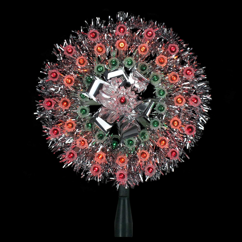 Multi Lights 8 Lighted Silver Tinsel Starburst Christmas Tree Topper