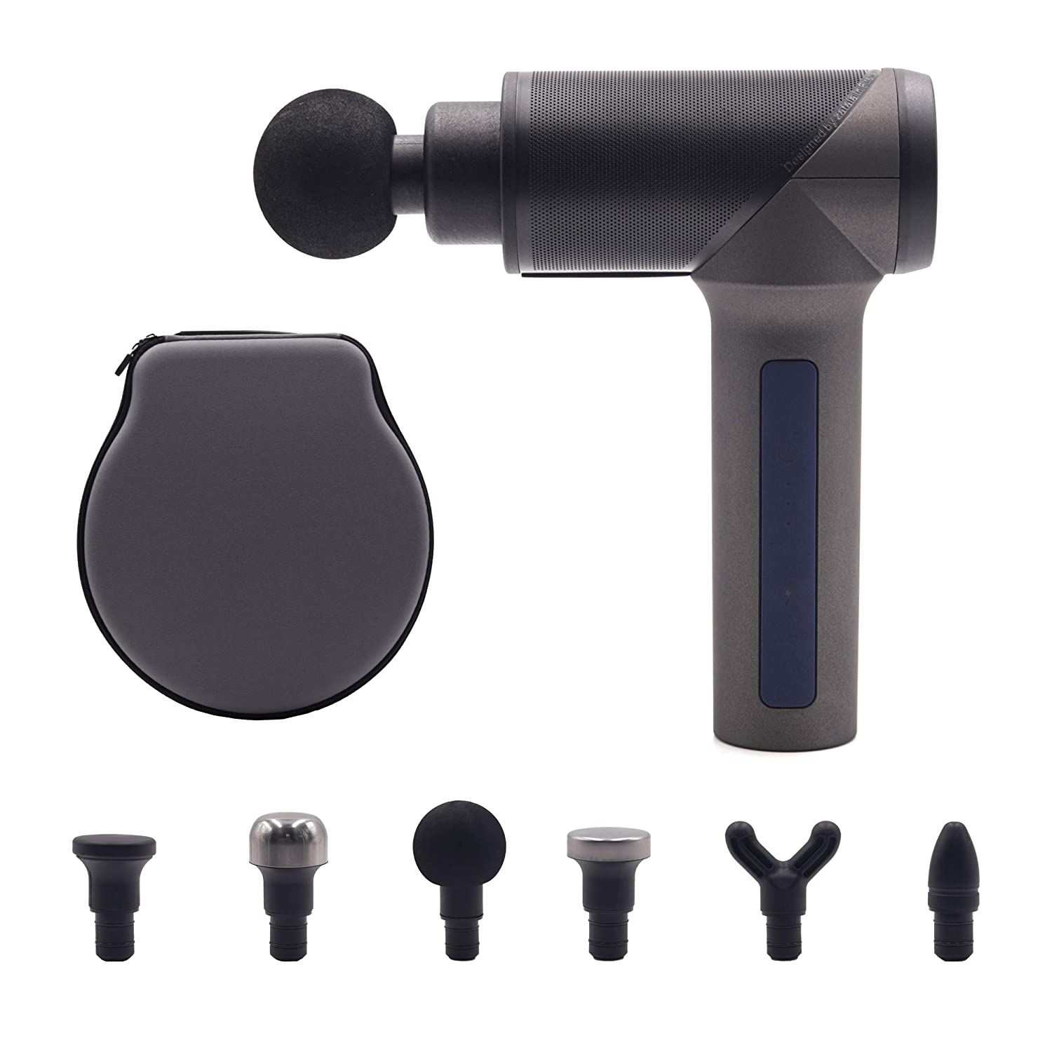 Shogun Sports Massage Ninja PRO. Handheld Professional Silent Massage Gun for Pain Relief and Improved Range of Motion. Percussion Therapy Massager with 6 attachments and Carrying case Included.