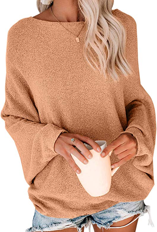 Asvivid Womens Oversized Batwing Sleeve Hollow Out Knit