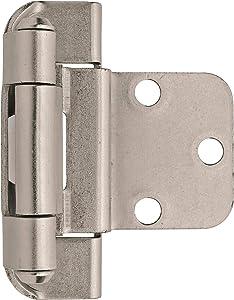 Amerock BPR7565G10 3/8in (10 mm) Inset Self-Closing, Partial Wrap Satin Nickel Hinge - 2 Pack