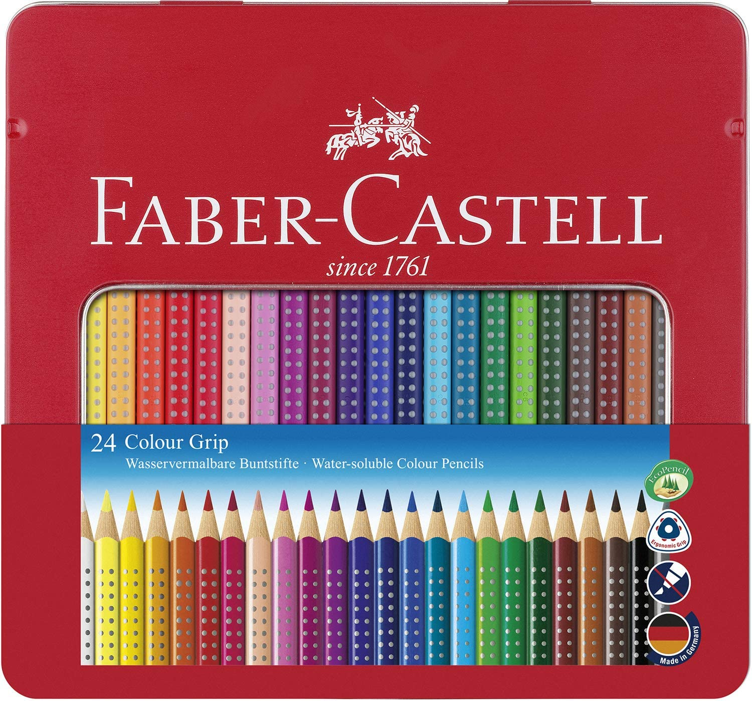 Faber Castell 112423 - Estuche de metal con 24 ecolápices triangulares de colores Grip, acuarelables, lápices escolares, multicolor: Amazon.es: Oficina y papelería