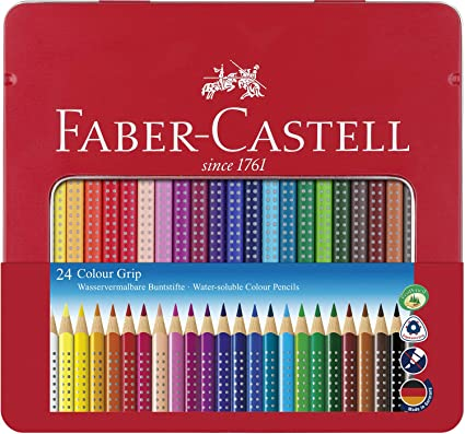 Faber Castell 112423 - Estuche de metal con 24 ecolápices triangulares de colores Grip, acuarelables, lápices escolares, multicolor: Amazon.es: Oficina y papelería