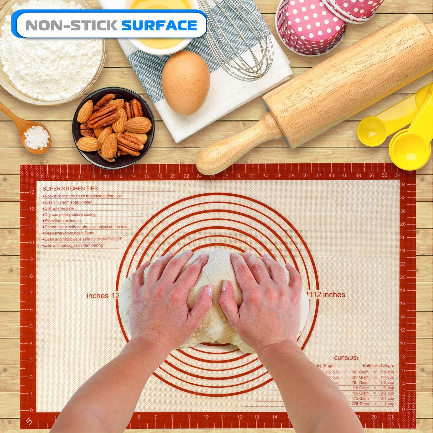 Macaron Pizza 1 Large 2 Half Pie Reusable Oven Liner Silicone Baking Mats with Measurement Non-stick Pastry Mat for Rolling Dough Kitchen Kneading Mat for Making Cookies Bread Set of 3 Sheet