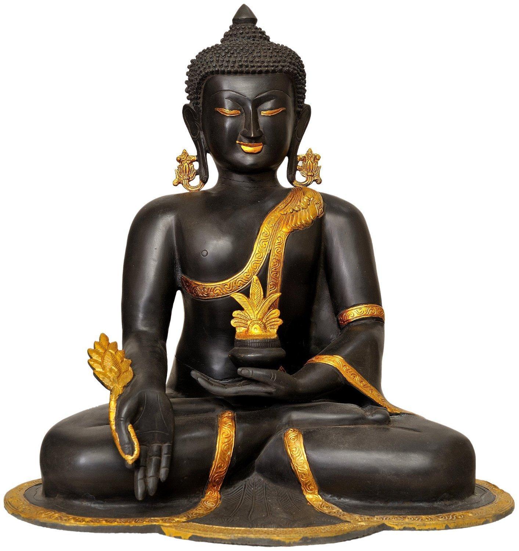 CraftVatika Large Antique Finish Healing Medicine Buddha Statue Brass Handmade Buddhism sculpture Thai Shakyamuni Big Idol