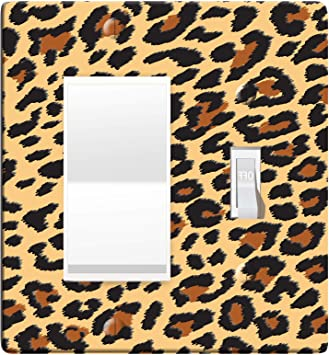 Leopard Or Cheetah Light Switch Outlet Cover D0103 2 Gang Rocker Toggle Amazon Com