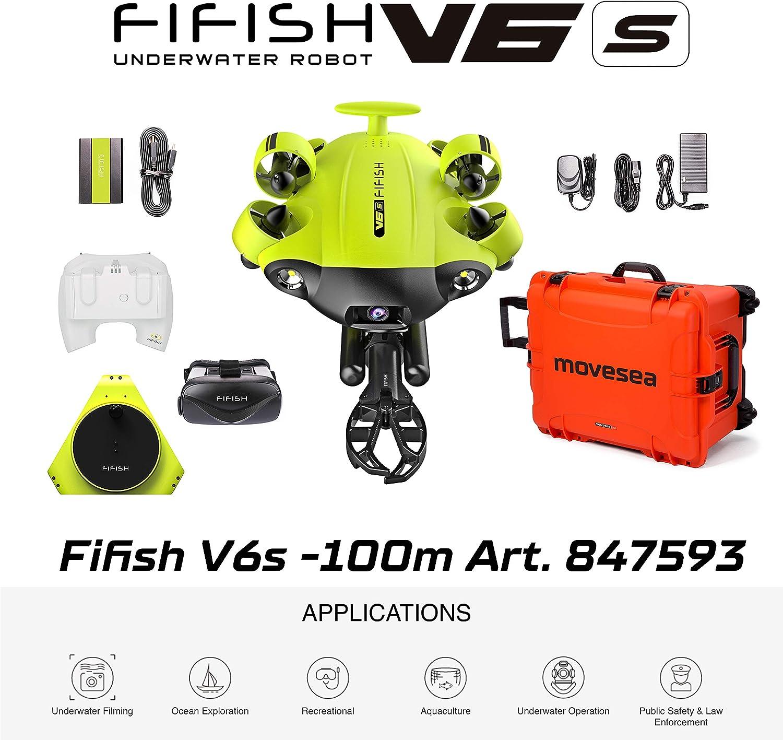 FIFISH Drone Submarino V6S 100m Cable con Brazo Robótico Gafas VR Adaptador HDMI Maletín Naranja con Ruedas QYSEA 847593
