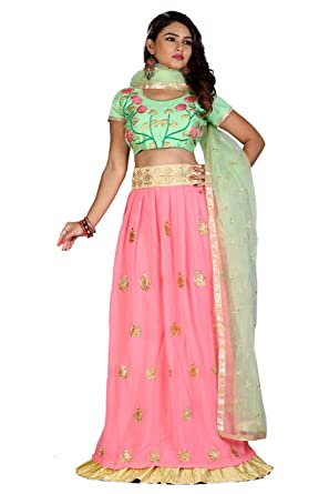 9d8ab01e751ba Greenvilla Designs Peach And Blue Banglori Silk Lehenga  Amazon.in   Clothing   Accessories