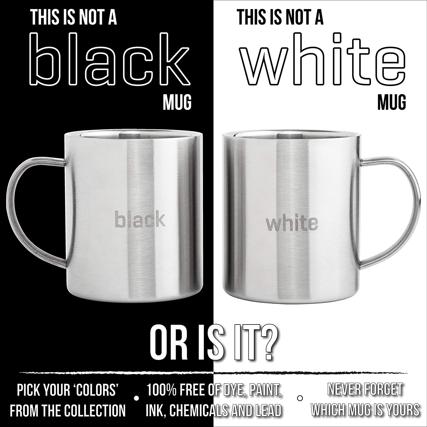 Shatterproof Set of 2 Cups with Laser Words Black /& White Double Wall BPA free 13.5oz Metal Coffee Mug Stainless Steel Coffee Mugs Camping Tea Cup Wide Handle Fits Popular Coffee Machines