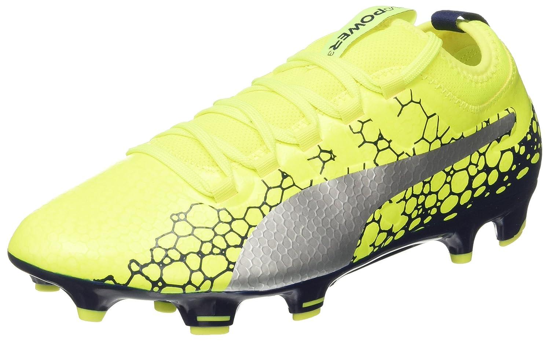 Puma Evopower Vigor 3 Graphic FG, Zapatillas de Fútbol para Hombre 39 EU|Amarillo (Safety Yellow-silver-blue Depths)