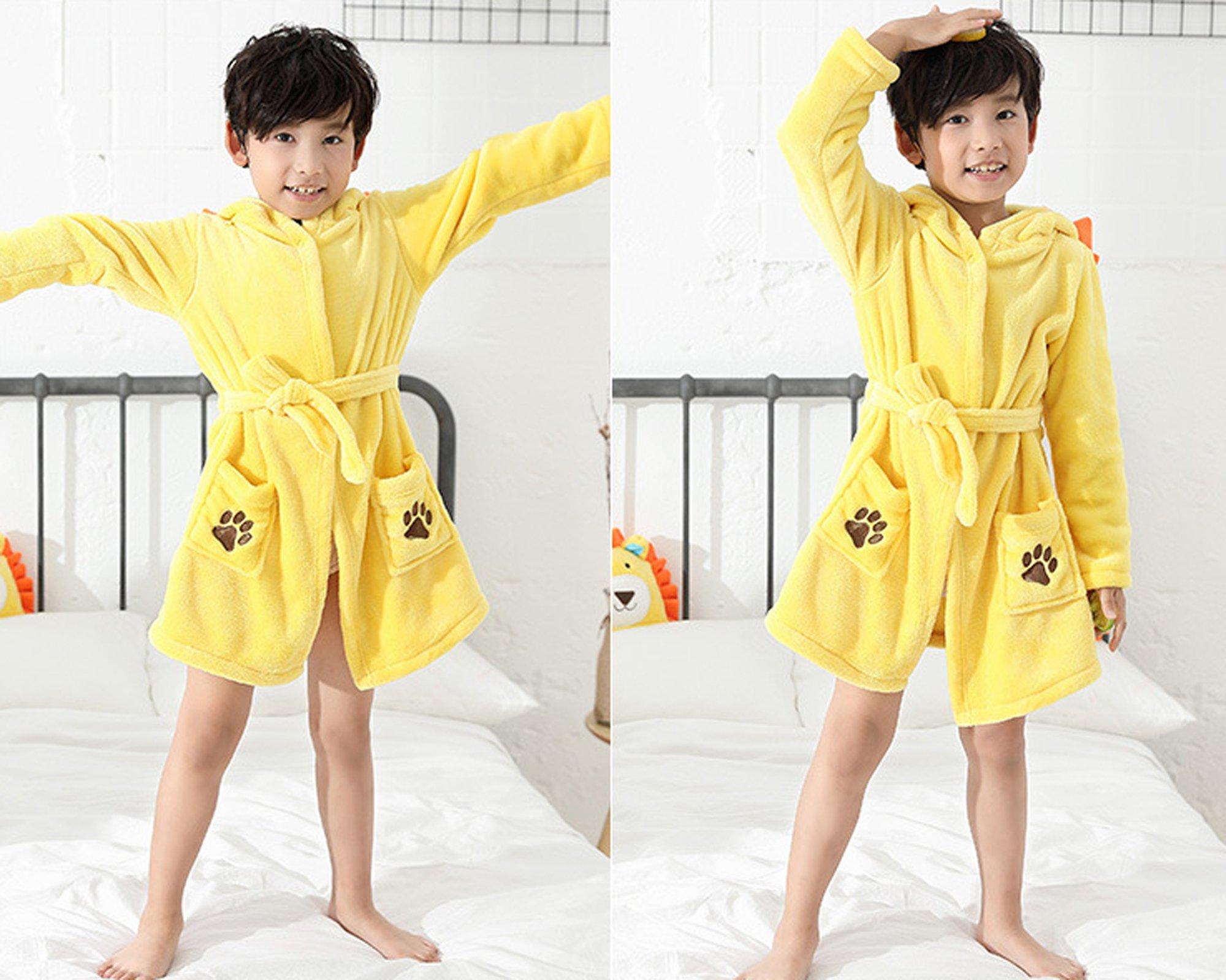 EPLAZA 3-6 Year Girl Boy Flannel Hooded Cute Animal Robe Sleepwear Kid Bathrobe Convertible Pillow (Tag 120, Yellow Lion) by EPLAZA (Image #6)