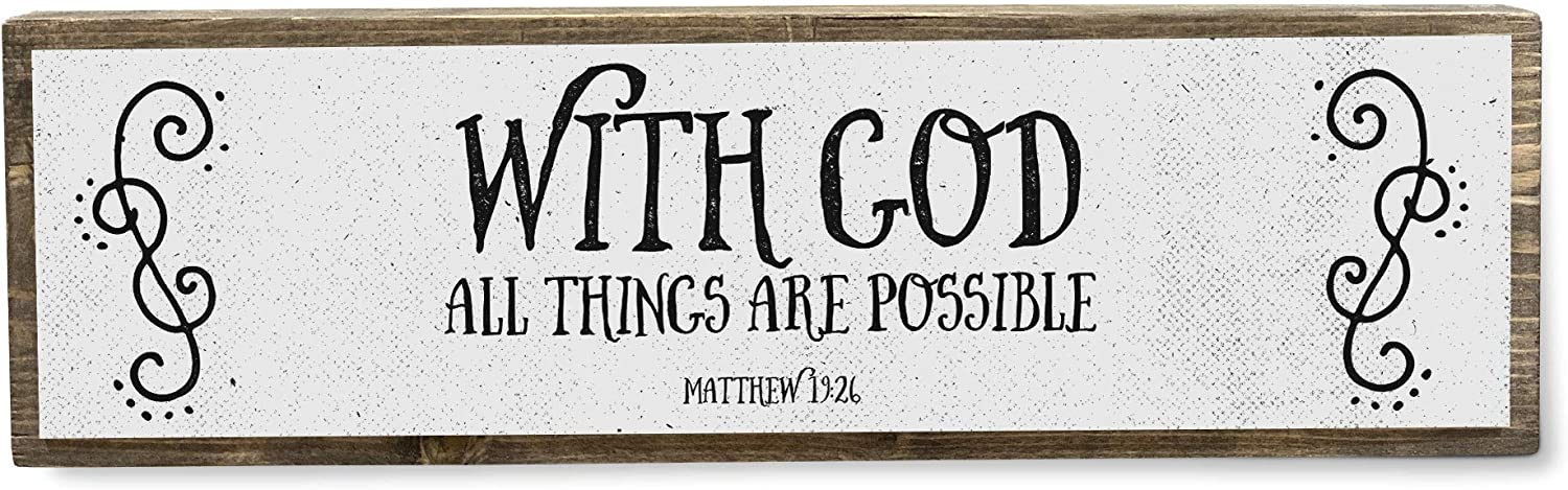ANVEVO with God All Things are Possible - Metal Wood Sign Light - Bible Verse Decorations for Home - Rustic Farmhouse Decor - Rustic Wall Art - Home Decor Modern Home Decor