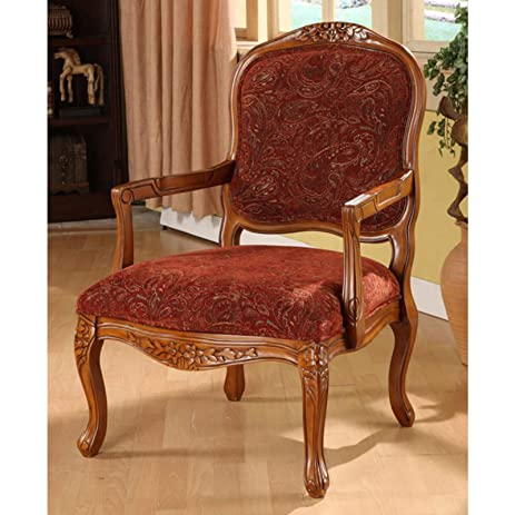Classic Accent Curved Arm Paisley Wine Chair
