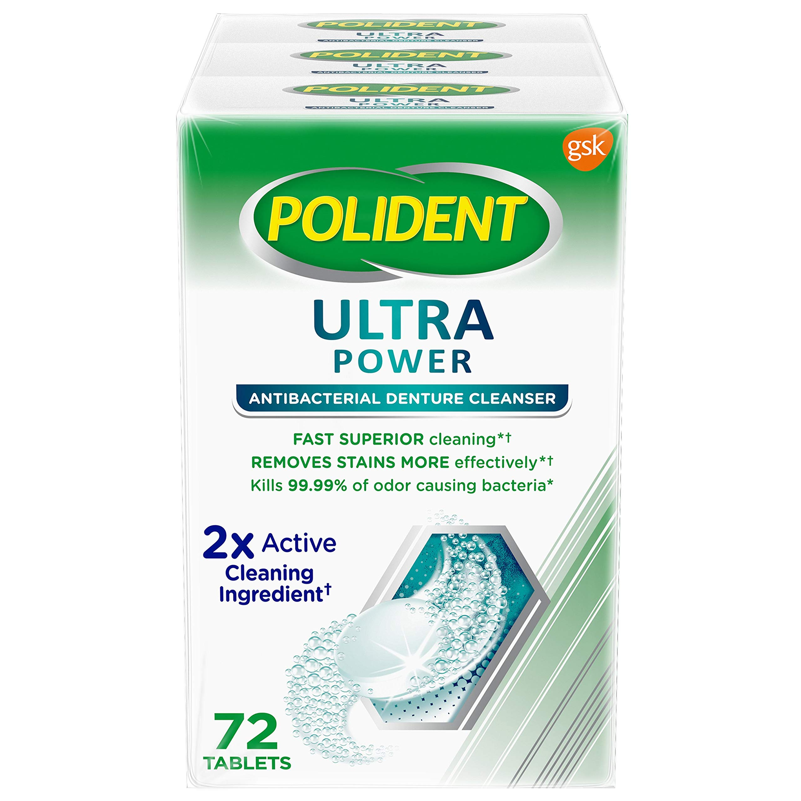 Polident denture cleaning tablets ultra power denture cleanser, 72 count (pack of 3) helps remove odor causing bacteria, plaque and stains from dentures, 216 Count by Polident
