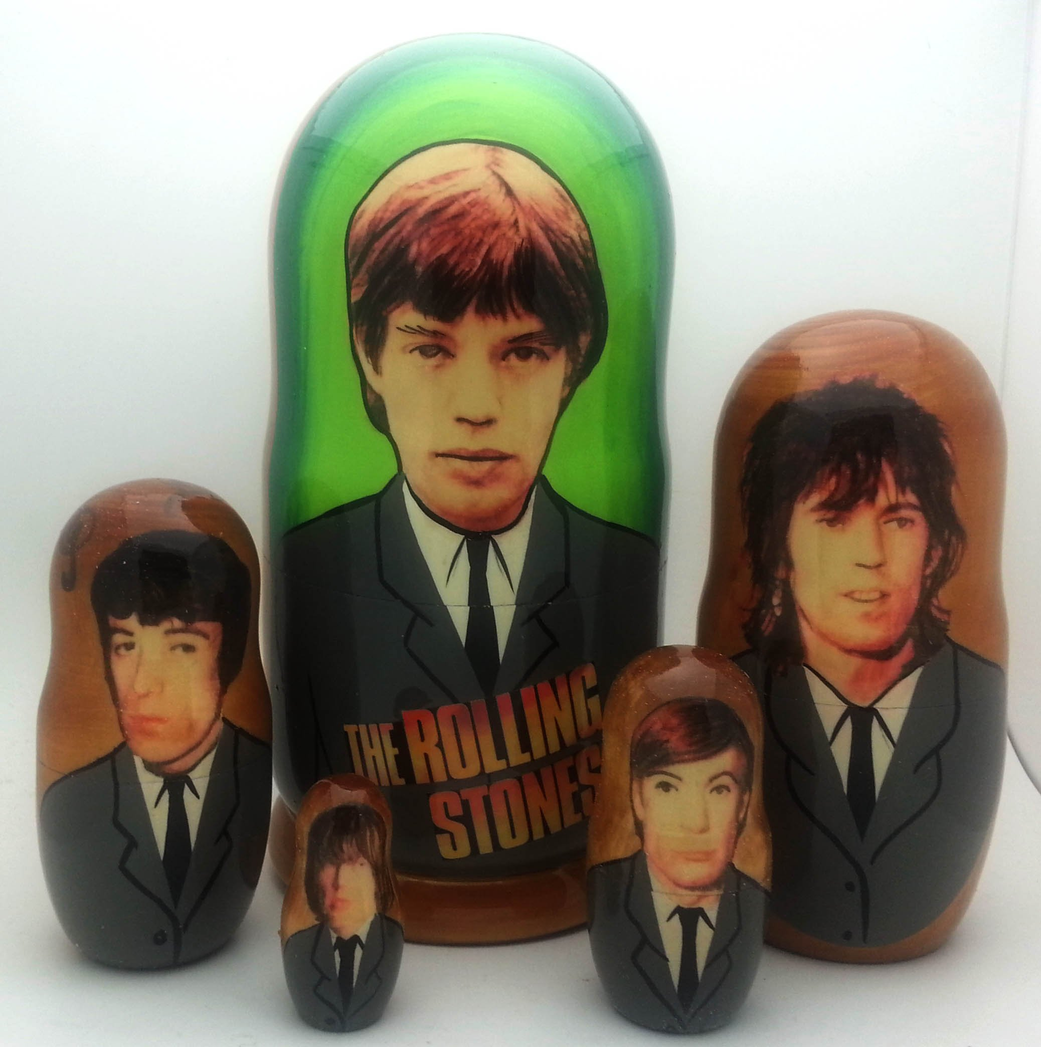 Rolling Stones Russian Nesting dolls 5 piece DOLL Set 7 by BuyRussianGifts
