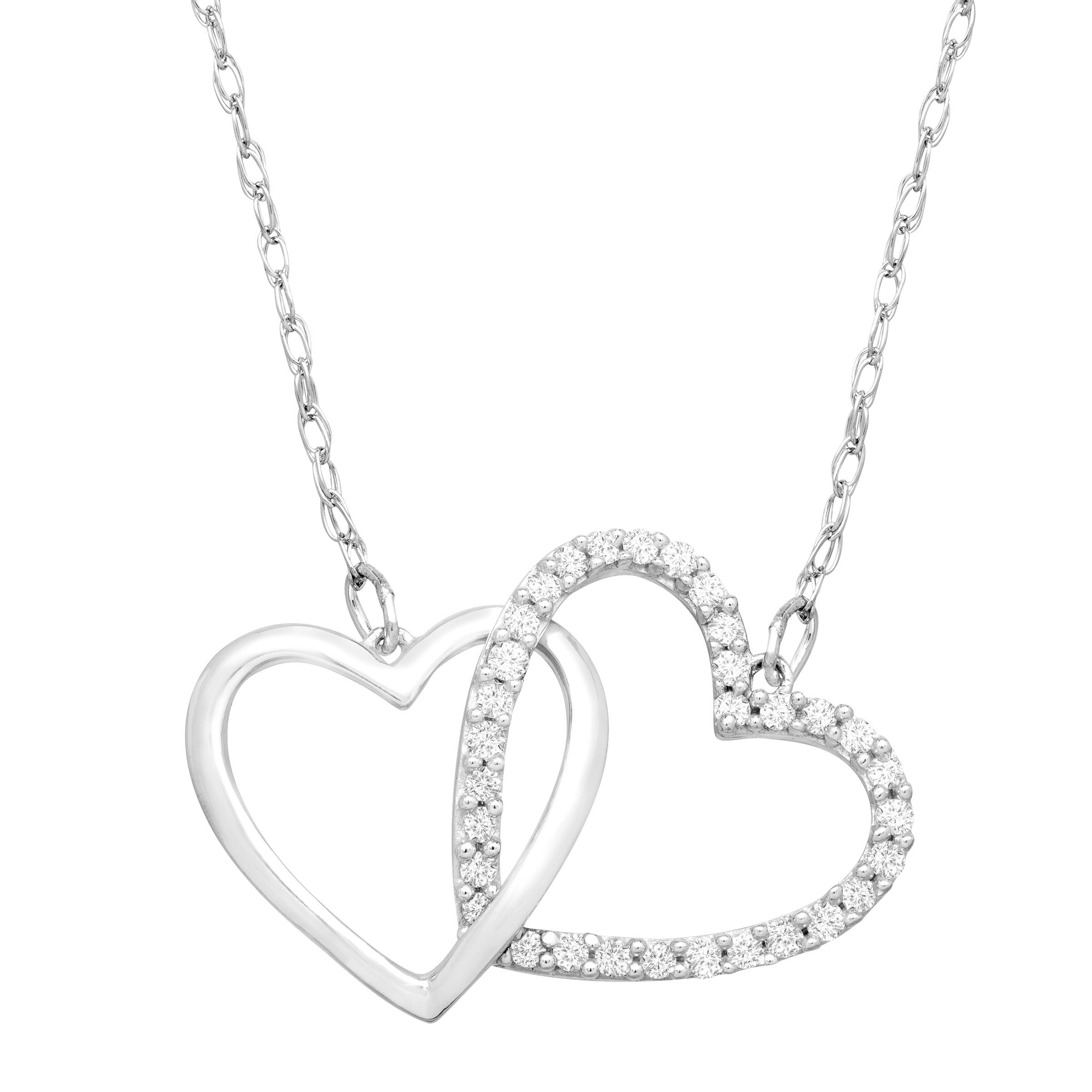 1/4 ct Diamond Linking Heart Necklace in Sterling Silver & Platinum