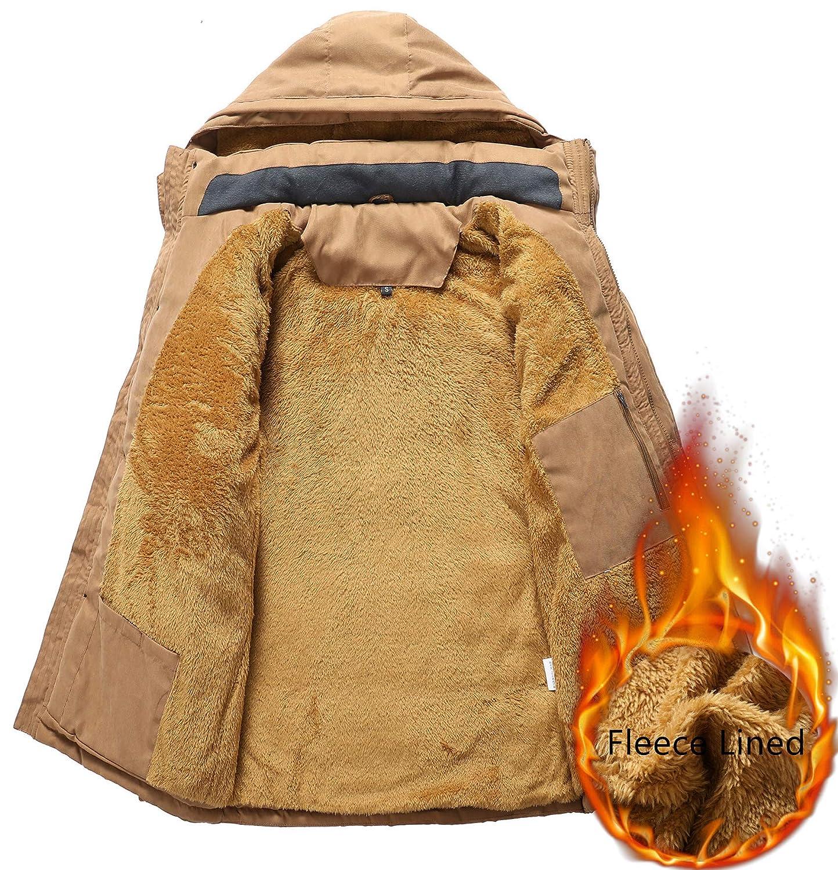 TMHOO Manteau Homme Hiver Chaud Fourrure À Capuche Parka Veste Militaire Blouson Multi-Poche Casual Jacket Noir/