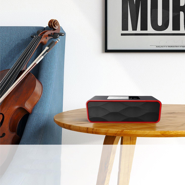 Portable Bluetooth Lautsprecher ZEPST Enhanced Bass Stereo Lautsprecher mit 2x5W Dual -Treiber, TF Karte Slot, Mikrofon und FM Radio, 10 Stunden Play 2200mAh Akku (Schwarz)