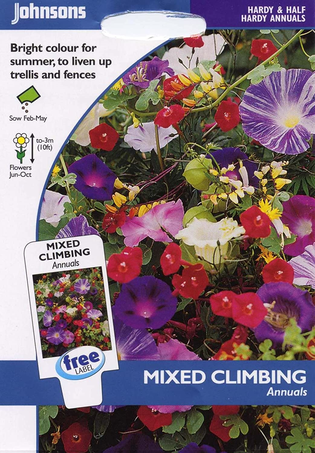 Johnsons Seeds Pictorial Pack Flower Mixed Climbing Annuals