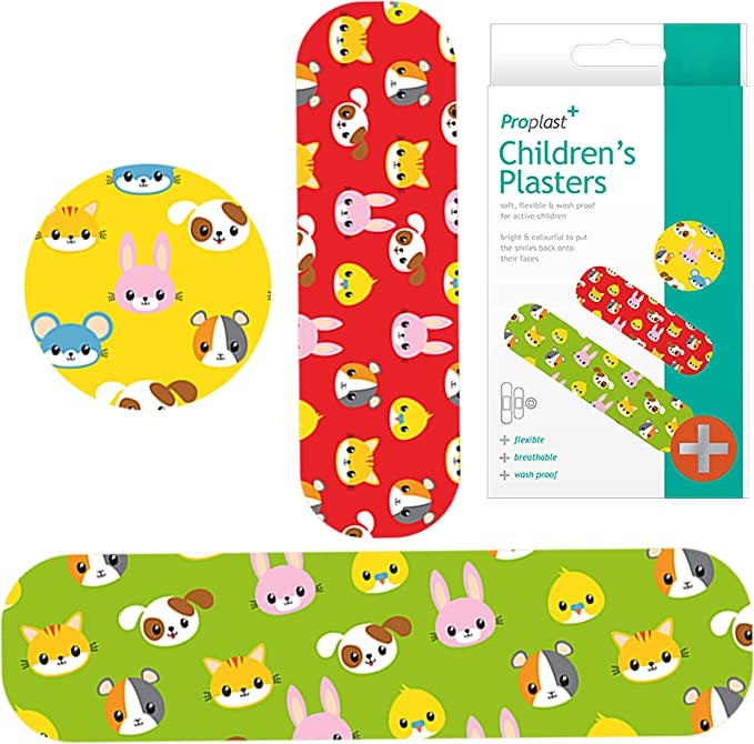75x Childrens Assorted Sized Plasters - Various Designs,White Hinge