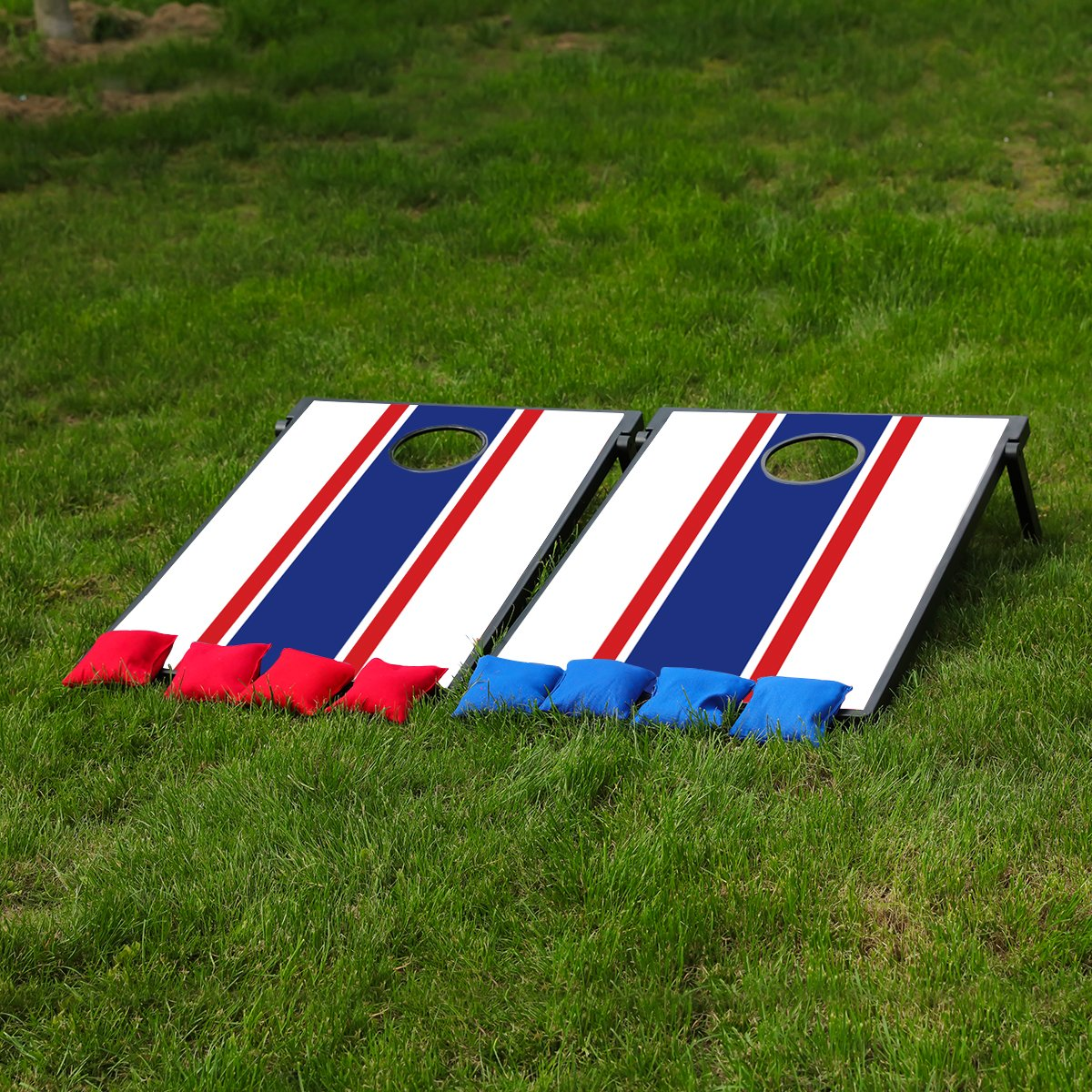 Sports Festival CornHole Board Bean Bag Toss Game Set and Tic Tac Toe 2 Games In 1 … (Blue and Red) by Festival Depot