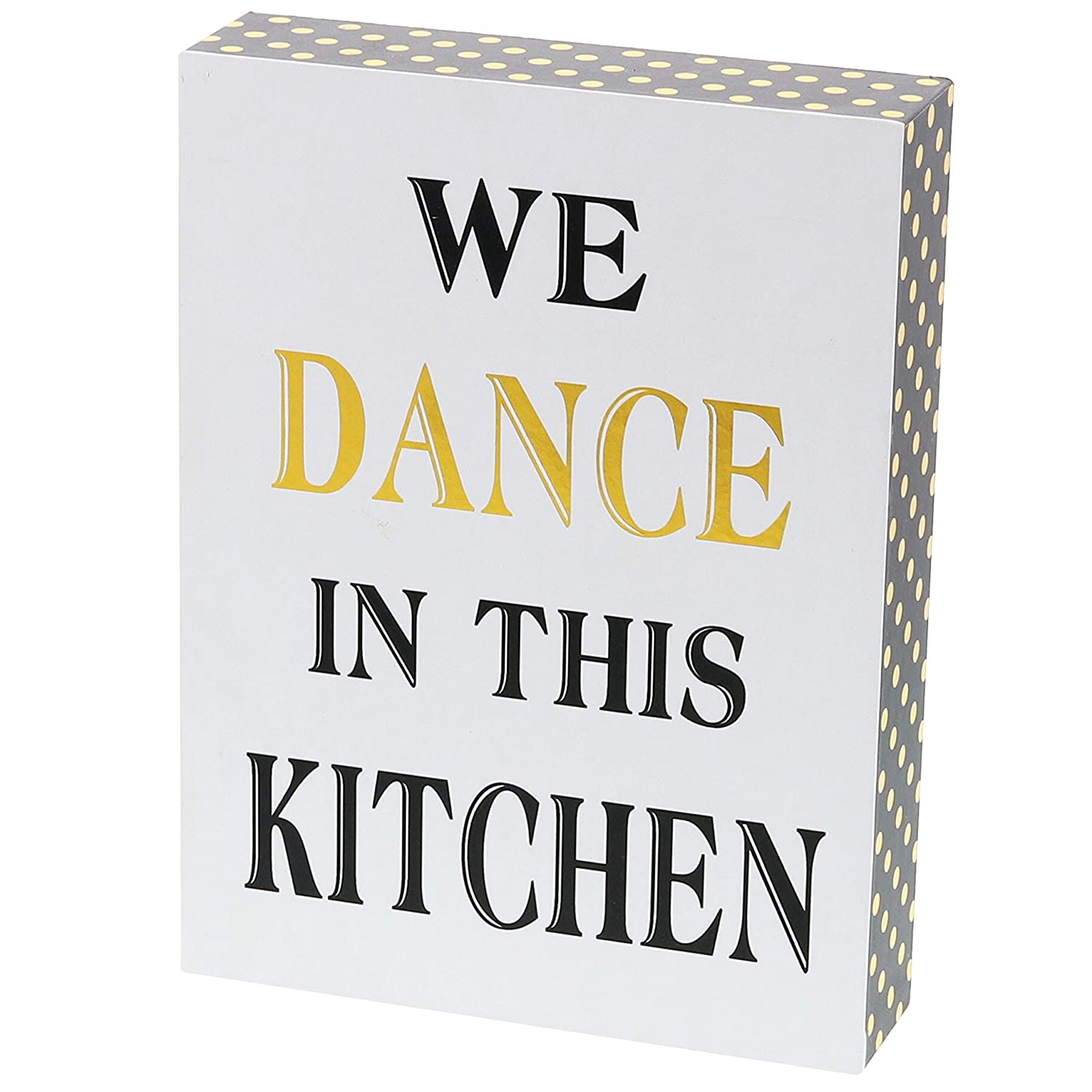 "Barnyard Designs We Dance in This Kitchen Decor Box Sign Vintage Primitive Country Wall Art Sign with Sayings 8"" x 6"""