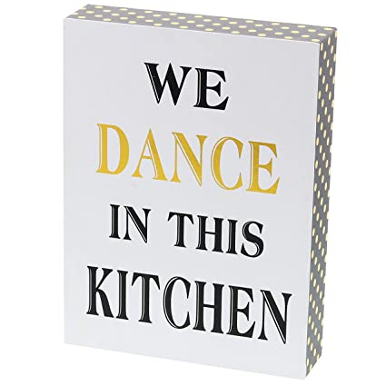 """Barnyard Designs We Dance in This Kitchen Decor Box Sign Vintage Primitive  Country Wall Art Sign with Sayings 8"""" x 6"""""""