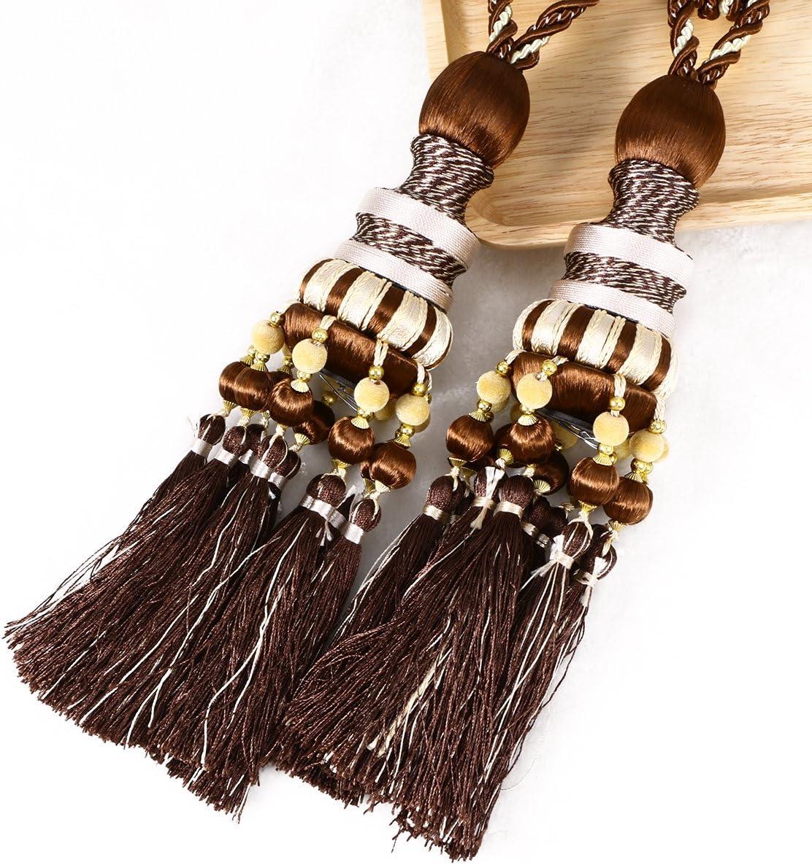 LIOOBO 1 Pair of Curtain tieback Beaded Tassels Curtain Holdback Holders for Home Drape Decoration Dark Coffee