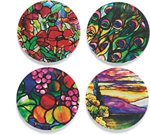 """Buttonsmith Tiffany Poppies Magnet Set - Set of 4 1.25"""" Magnets - Made in the USA"""