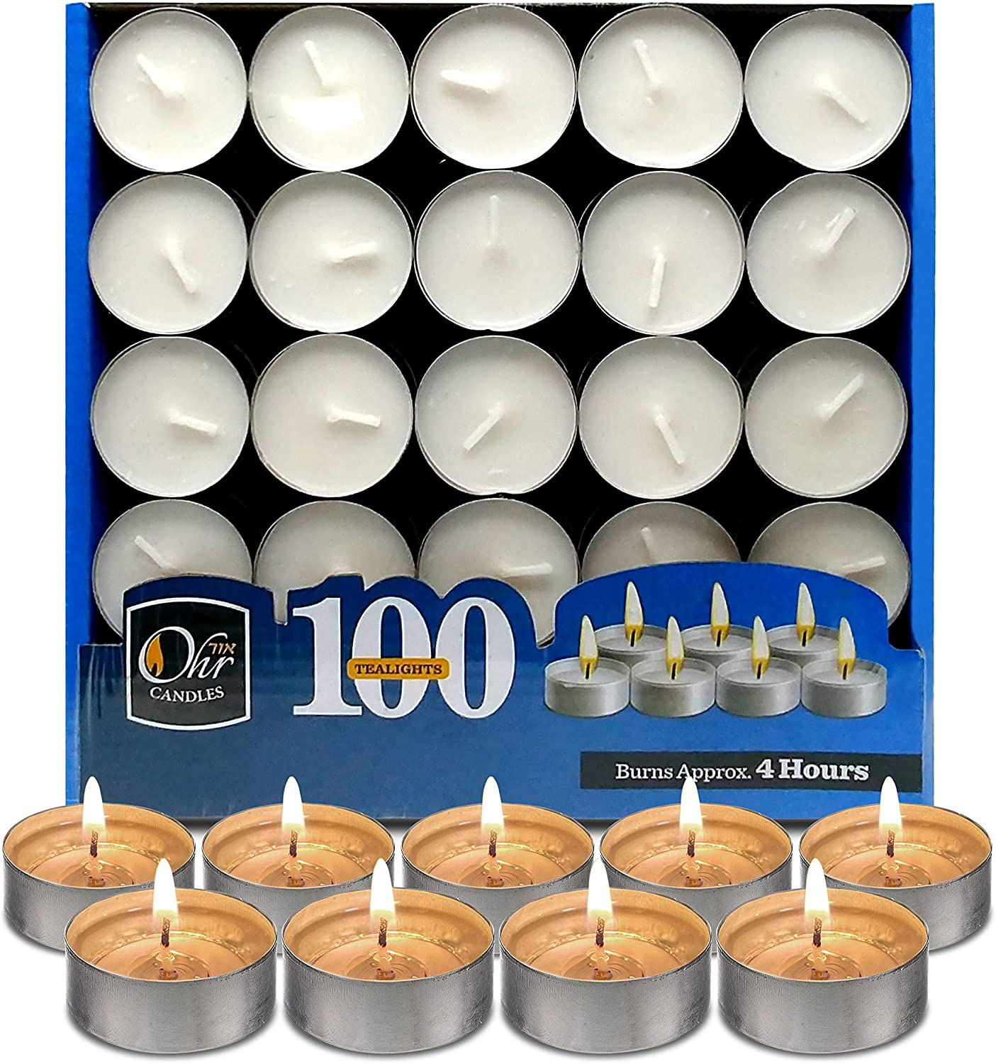 Tea Lights 3.5 Hour Long Burn Night Light Candles Unscented Tealights 100 PACK