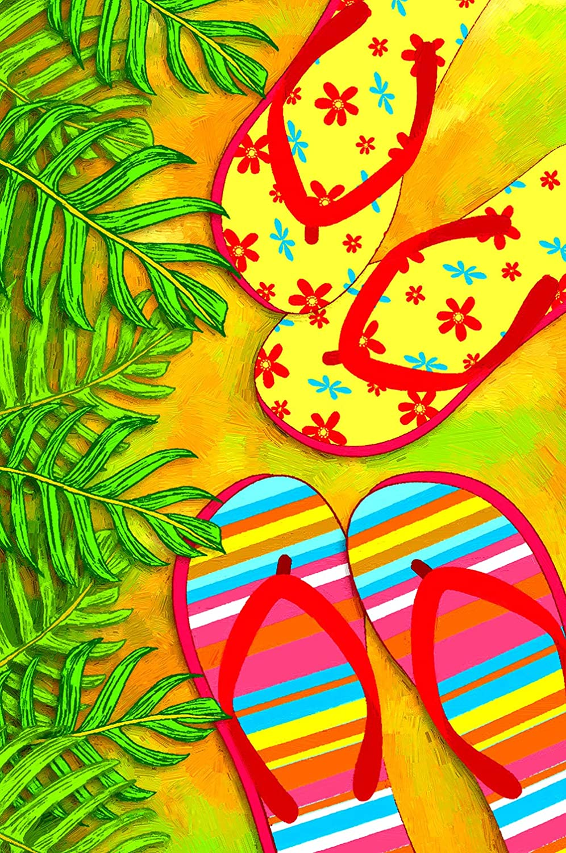 Texupday Summer Beach Flip Flops Garden Flag Tropical Palm Decoration Outdoor Yard Flag 12