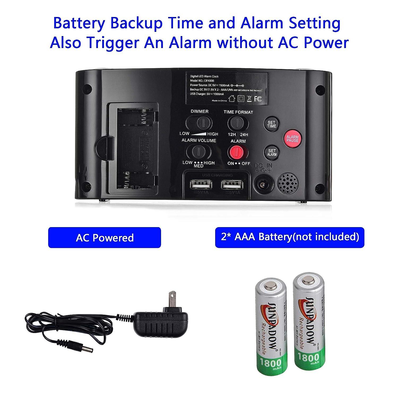 Amazon.com: Mesqool - Reloj despertador grande: Electronics